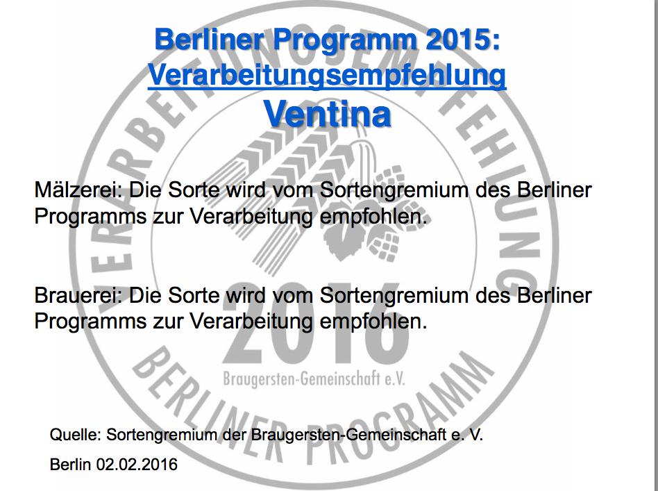 Вентина Берлинская программа