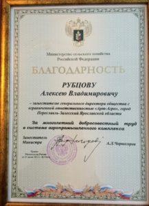 благодарность Рубцов 2012