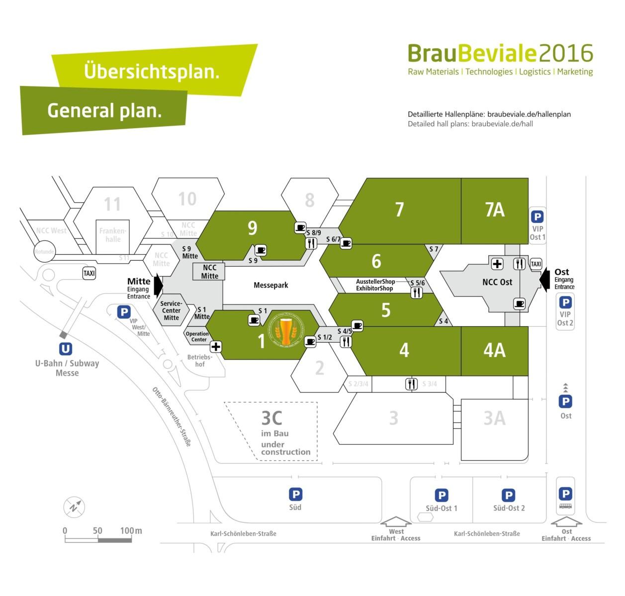 BrauBeviale 2016 Hallenplan + bmbu